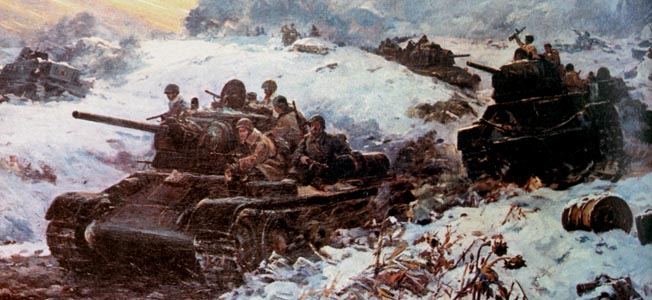 Red Army soldiers ride into battle atop the sturdy T-34 tanks that turned the tide of battle against the Nazis on the Eastern Front. More than 50,000 T-34s rolled off Soviet assembly lines during World War II.