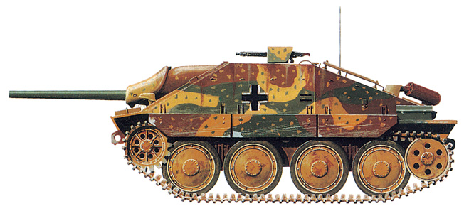 The 75mm, 15-ton Jagdpanzer 38(t), or Hetzer, was issued to tank-hunter units beginning in July 1944.