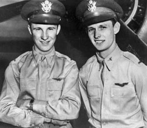 George Welch (left) and Ken Taylor were credited with shooting down several Japanese planes during the Pearl Harbor attack. Although they had been out late the night before, the two American pilots sped to their planes and took off to fight the Japanese as quickly as they could.