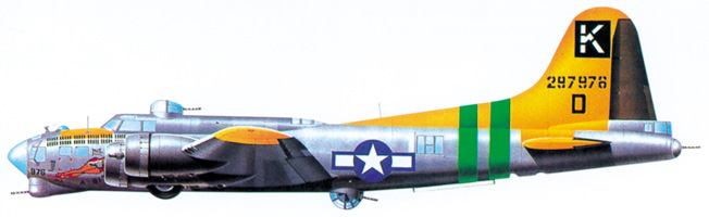 A B-17G of the 711th Squadron, 447th Bomb Group displays a distinctive profile, including the chin turret that added defensive firepower to later versions of the bomber.