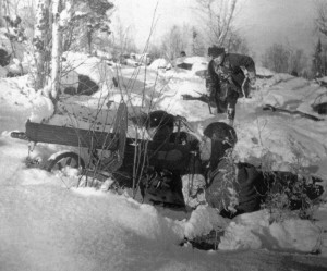 Their heavy machine guns clearly visible in the snow, Red Army soldiers support their comrades' attacks against the Germans during the winter of 1941-1942. The Soviets were willing to sustain horrendous losses to relieve the Nazi pressure on their capital.