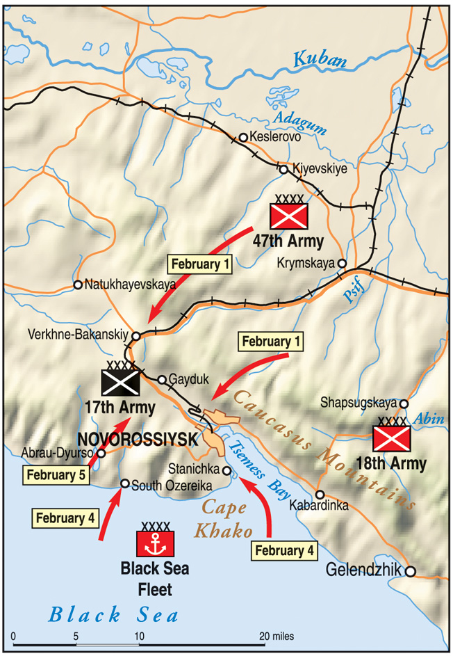 The operation to liberate the port city of Novorossiysk from its German and Romanian captors was to be a coordinated assault from both land and sea.