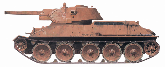 Arguably the finest all-around battle tank of World War II, the Soviet T-34 mounted at 76.2mm main gun and reached the Eastern Front in large numbers.