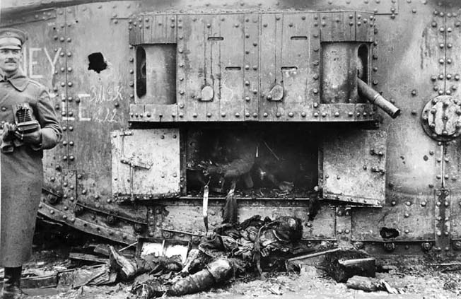 A destroyed Mark IV. During WWI, tanks created hellish conditions for their crews, but the men who controlled them were often unwilling to transfer to another tank if their own was damaged.
