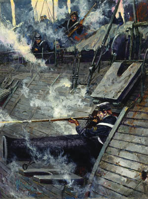 Corporal John Mackie fires from a gun port aboard USS Galena in this Charles Waterhouse painting.
