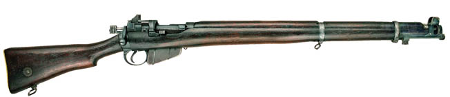 The iconic bolt-action, magazine-fed Lee–Enfield was used widely around the globe in the first half of the 20th century.
