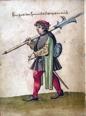 A Spanish soldier carries his halberd in a period illustration from 1530. The introduction of the harquebus in the early 16th century heralded the demise of the halberd as a battlefield weapon.