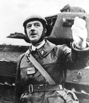 Colonel Charles De Gaulle, commander of the French 4th Armored Division, fought valiantly but unsuccessfully, then escaped to England.