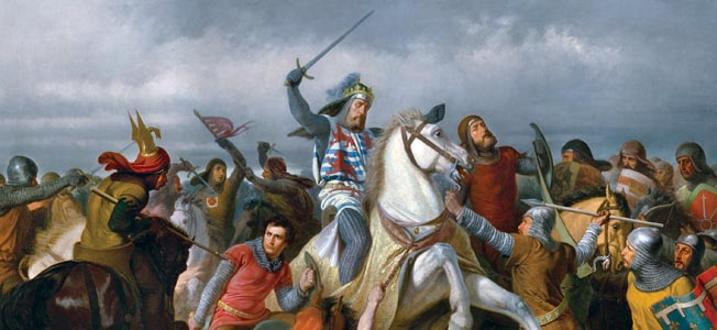 English King Edward III's longbowmen shattered multiple charges by French King Philip VI's mounted French knights at Crécy in 1346.