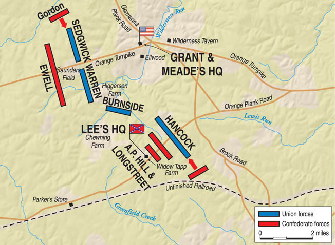 In the forbidding countryside of Virginia's Wilderness, Ulysses S. Grant and Robert E. Lee stumbled blindly toward their first wartime encounter.