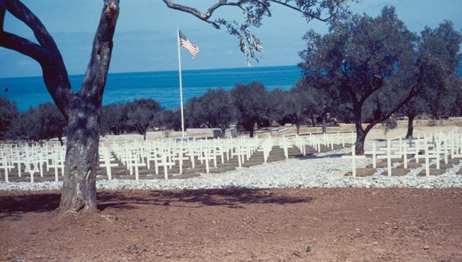 William Wilson's color photograph of a temporary U.S. war cemetery on the northern coast of Sicily, 1944.
