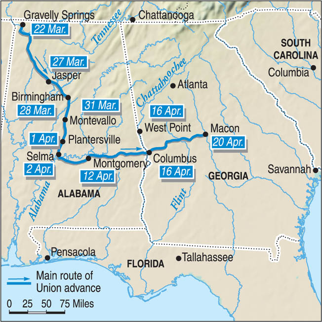 Wilson's raid took him on a semicircular southeasterly route from Gravelly Springs, Alabama, to Macon, Georgia.