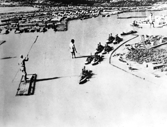 The Japanese created this mock-up of Ford Island and Battleship Row after the attack for use in a propaganda film.