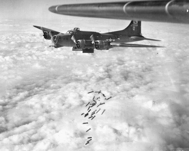 A B-17 releases its bombs over Brunswick, Germany, on April 26, 1944. It was Stevens's second mission.