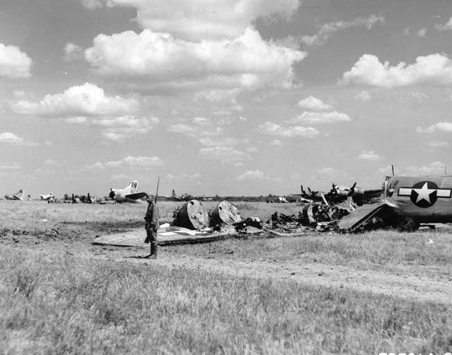 A field of destroyed American B-17 bombers caught on the ground by the Luftwaffe at the Russian airfield in Poltava, Ukraine, on June 21, 1944.
