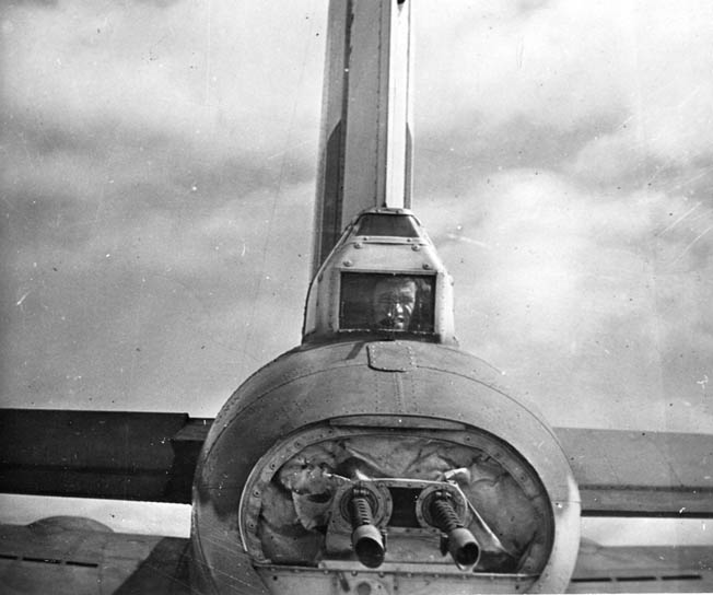 Close-up of the deadly twin .50-caliber machine guns mounted in the tail of a B-17.