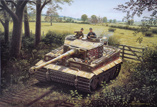 In this painting by artist Barry Spicer, SS Captain Michael Wittmann's tank, Tiger No. 205, is shown during operations in Normandy. Wittmann was one of the most successful German tank aces of World War II. He lost his life in combat on August 8, 1944.
