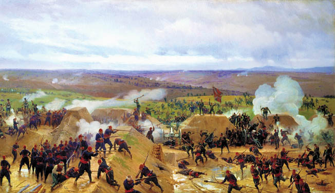 General Mikhail Skobelev led the Russians in a successful assault on the Grivitsa redoubt during the Siege of Plevna in 1877. His men repulsed five furious counterattacks by the Turks.