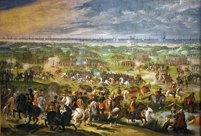 The armies of France and Sweden waged a war of maneuver against the Imperial-Bavarian army in the final months of the Thirty Years War. At Zusmarshausen in 1648, Turenne overtook Raimondo Montecuccoli's retreating army and crushed its rear guard.
