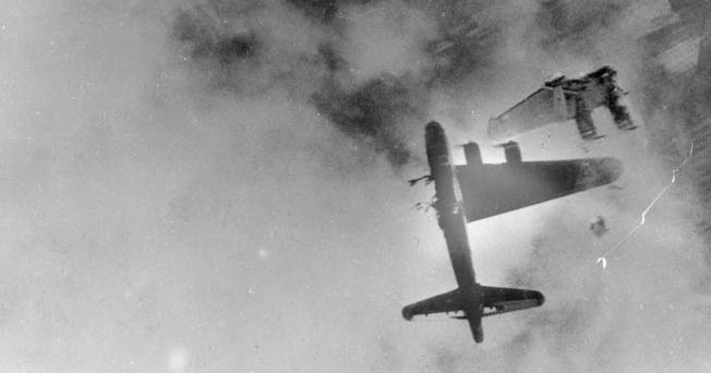 This startling photograph is indicative of the ferocity of the air war over Europe in World War II and of the price paid by Allied bomber crews during raids on military targets. On April 8, 1945, this B-17, nicknamed Wee-Willie, lost a wing to flak above Stendal, Germany. Two crewmen survived the plane's crash, and eight others were killed.