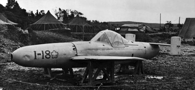 Photographed shortly after the war, this Japanese Ohka flying bomb was intended for the defense of the Home Islands. American sailors dreaded these manned suicide aircraft and referred to them as 'Baka,' Japanese for idiot or fool. TOP: Vice Admiral Matome Ugaki commanded the Japanese Fifth Air Fleet and launched waves of Kamikaze aircraft against the U.S. Navy ships supporting the Okinawa landings.