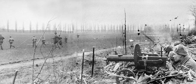 Soviet machine-gun teams in action in Hungary. During Spring Awakening, Marshal Tolbukhin masterfully shifted units from relatively secure areas to critical ones to limit the German gains.