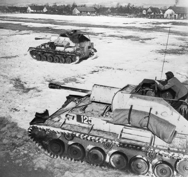 Soviet self-propelled guns helped stem the German advance in Hungary. German leader Adolf Hitler was furious that some of his elite SS troops withdrew without orders when the offensive ground to a halt.