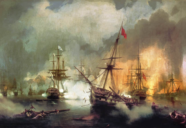 The Russian squadron in line ahead at left bombards the Ottoman fleet at right in a painting by Russian artist Ivan Aivazovsky. The Russian 84-gun Gangut sunk a fireship heading toward it before the burning hulk could do any damage.