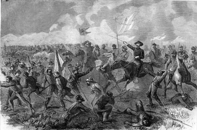 "Saber-wielding Union cavalry send Confederate foot soldiers ""whirling through Winchester."" One of the last Southern casualties was Colonel George S. Patton, grandfather and namesake of the legendary World War II commander."