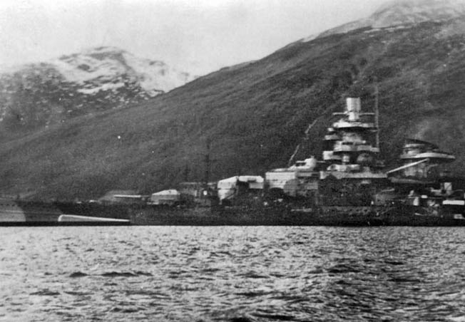 This photograph of Scharnhorst was taken in the shelter of a Norwegian fjord in 1940. Scharnhorst and Geneisenau served as naval covering forces for the German assaults on the Norwegian towns of Trondheim and Narvik during the February 1940 invasion.