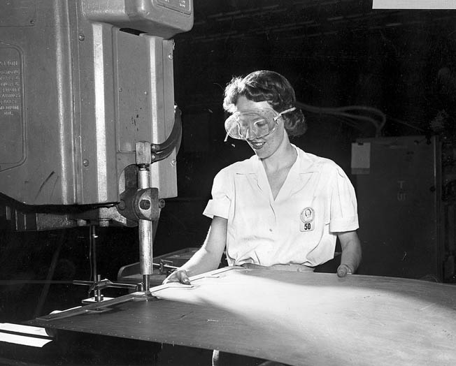 Spot welder Mary Withrow hard at work producing B-29 components in Marietta.