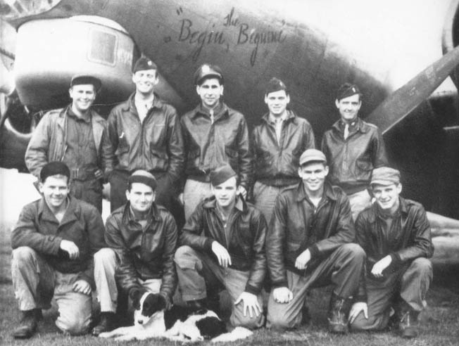The crew of the Boeing B-17 bomber nicknamed Begin the Beguine posed for this photograph with its aircraft in the background shortly after arriving in England. Bib Bowers is kneeling second from right.