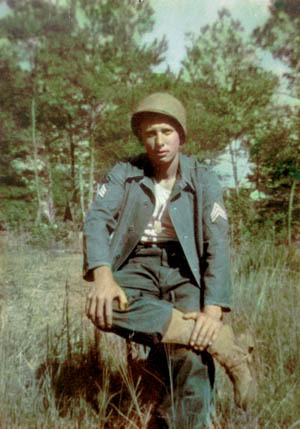 This rare color photo of Bob Walter during World War II was taken shortly after he endured the heat and humidity of the Louisiana Maneuvers in 1943 and received his sergeant's stripes. Walter went on to lead his platoon heroically during the Battle of the Bulge.