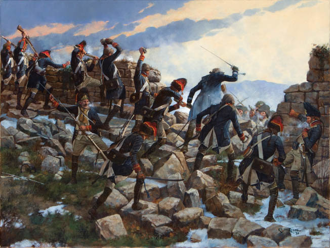 A Sardinian battalion of elite grenadiers held off three separate attacks by French General Pierre Augereau's division on their position in the ruins of a medieval castle at Cosseria on April 13, 1796. When the grenadiers ran low on ammunition, they hurled rocks at the French.