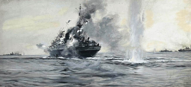 In this painting, The Heroism of the Jervis Bay, 5th November 1940, by Montague Dawson, the badly damaged British ship continues to fire on the Admiral Scheer. As Jervis Bay began to sink, the order to abandon ship was given but only 65 of the 268 crew members survived the one-sided battle.