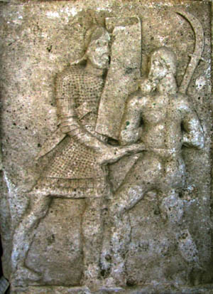 An image from the Roman monument Tropaeum Traiani in modern Romania, which commemorates the Roman victory over the Dacians, shows a legionnaire stabbing with his gladius.
