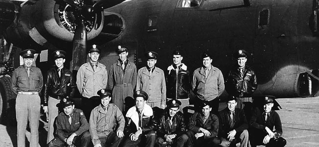 ABOVE: While serving as a squadron operations officer, Major Jimmy Stewart discusses a mission with pilots in the spring of 1944. RIGHT: Brigadier General Edward Timberlake, Jr., commanded the 2nd Combat Bombardment Wing and led the attack on the oil refineries at Ploesti, Romania, in 1943. Stewart served under Timberlake in the 703rd Bombardment Squadron.