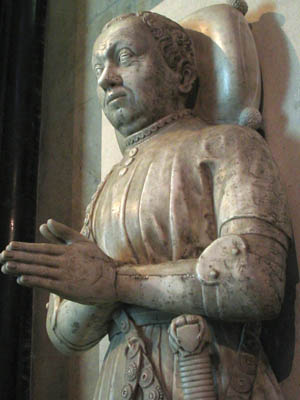 Bertrand du Guesclin's effigy at Saint-Denis Basilica in Paris, where he is buried.