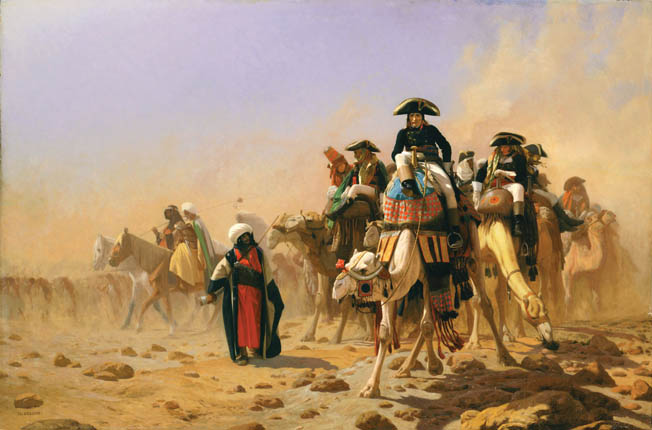 Bonaparte and his staff journeyed across the sands of Egypt on camelback.