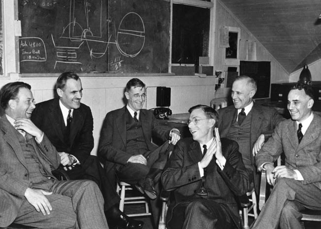 Manhattan Project scientists and officials are all smiles at the University of California at Berkley, 1940, before the atomic bomb became reality. Left to right: Ernest Lawrence, Karl Compton, Vannevar Bush, James B. Conant, Arthur Compton, and Alfred Loomis.