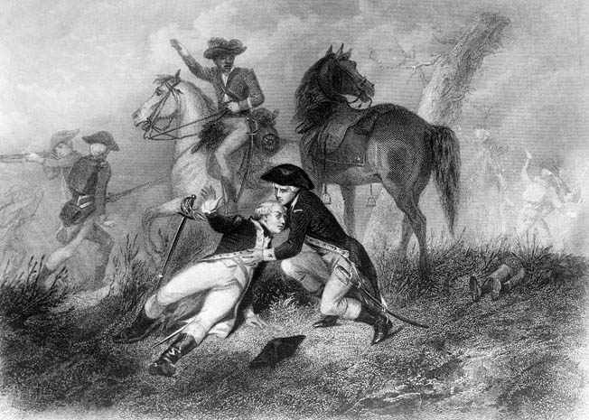 American ally Marquis de Lafayette was wounded badly in the leg but nevertheless tried to rally the faltering American troops.