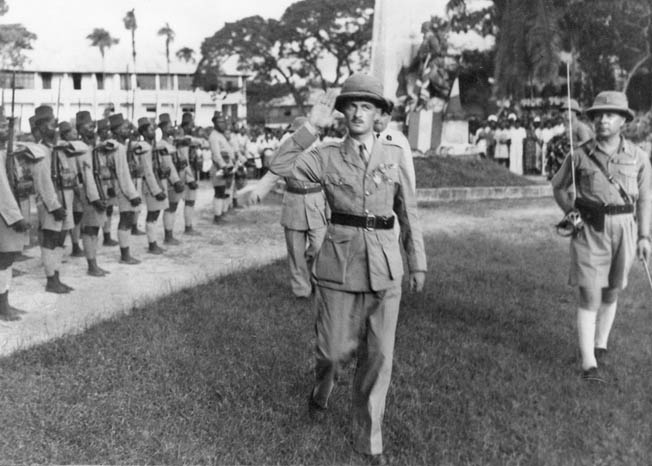 Then Colonel Philippe Leclerc reviews Senegalese troops in Chad in December 1940.