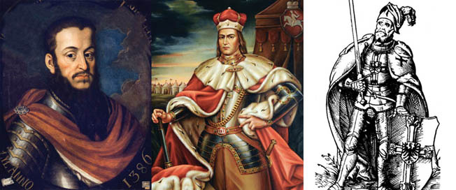 Left to right above are Polish King Wladyslaw II Jagiello, Grand Duke Vytautas of Lithuania, and Teutonic Order Grand Master Ulrich von Jungingen.