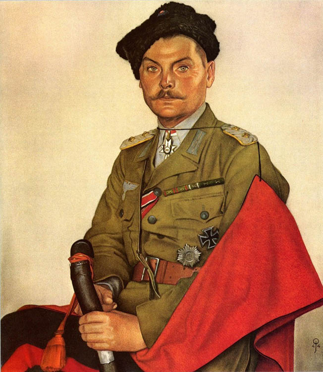 Cossack leader Ivan Nikitich Kononov sat for this portrait proudly wearing his German uniform, including the Iron Cross, a decoration for bravery.