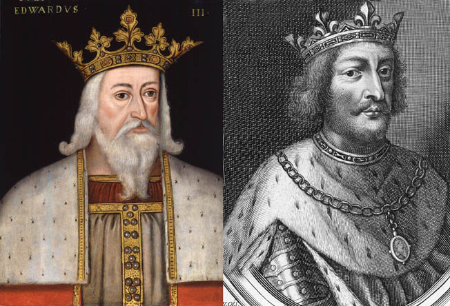 English King Edward III (left) and French King Philip VI. Although King Edward initially planned to avoid battle, he could not resist offering it when conditions seemed favorable.