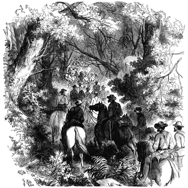 Brigadier General William S. Rosecrans's troops conduct a flank march around the Rebel works on Rich Mountain. The Union victory forced the Confederates to abandon their defense of the northern Tygart Valley.