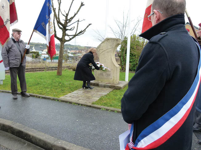 Each February 11, residents and officials from Rouxmesnil-Bouteilles honor the crew of the Lonesome Polecat that crashed into their town with a parade and wreath-laying ceremony at the memorial.
