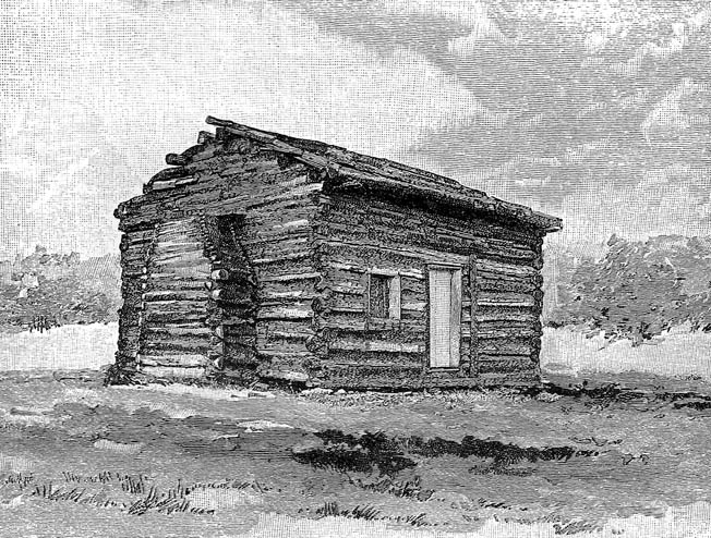 This ersatz log cabin was assembled from logs said to have come from the cabin in which Abraham Lincoln grew up.