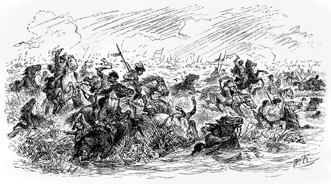 Marauding Magyar warriors cross the Lech River near Augsburg, Germany, on August 10, 955. The Magyars long had made a habit of raiding helpless German settlements.