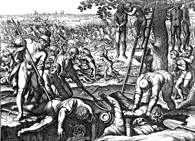 After the battle, German soldiers and civilians took brutal revenge on the beaten Magyars, as this 17th-century engraving graphically depicts. Few raiders escaped.